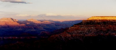 A view of the Grand Canyon at sunrise